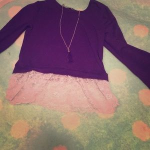 Other - Shirt with lace and tassel necklace